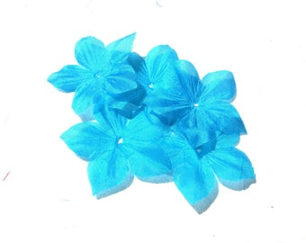 8 FLOWERS PONGEE SILK TURQUOISE SHAPED DIAMETER 35 MM