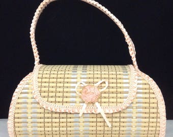 Small Straw Purse Woven Purse Childs Purse Easter Purse Pink Straw Purse Wedding Purse Spring Purse Vintage Straw Purse  Vintage Handbag