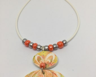 New for Spring  Handmade floral polymer clay pendant necklace
