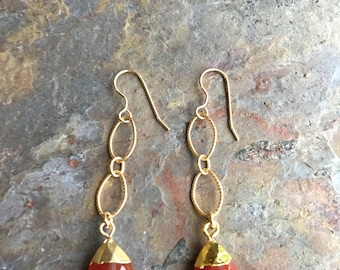 Carnelian gemstone gold dangle statement earrings