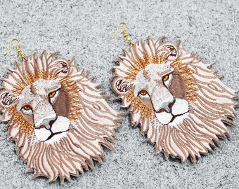 Lion Earrings, Lion Patch Earrings, Leather Earrings, Statement Earrings, Big Earrings, African Lion Leather Patch Earrings