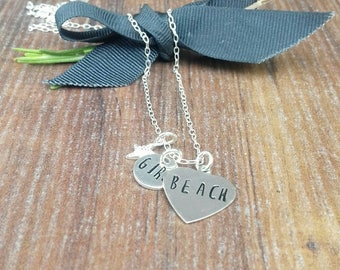Beach Girl Necklace, Starfish Charm, Gifts For Beach Lovers, Hand Stamped Silver Necklace,