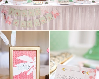 Bohemian Feather Dreamcatcher Boho Tribal PRINTABLE Party Collection - You Customize EDITABLE TEXT >> Instant Download | Paper and Cake