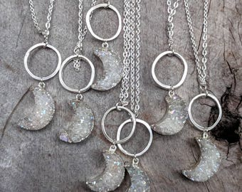 Druzy - Necklace - Crescent Moon - Silver - Witchy - Goth - Rainbow - Gift - Jewelry - Crystal - Stone - Gem - Aura- Pendant - Boho