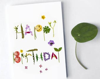 Happy Birthday botanical pressed flower card, Anniversary eco friendly vegetal card, Floral typography, Herbarium card, Inspired by nature