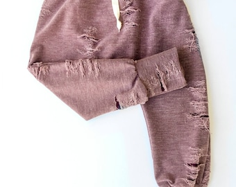 Harem Pants. Drop Crotch Pants.  Distressed Fabric Pants. Grunge Style for Kids. Wine Red Pants. Kids Holiday Pants. Trendy Kids Clothes.