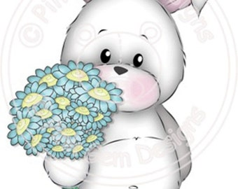 Digital (Digi) Bunny with Flowers - Birthday, Valentines, Mothers Day, Love