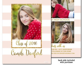 Pink and White Photo Graduation Announcement Card, Graduation Invitation Annoucement Card Pink Stripes Gold 4 photo announcement card