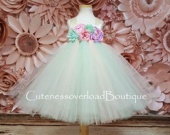 Mint and Blush Tutu Dress-Mint and Blush Flower Girl Tutu Dress-Mint and Blush Wedding Tutu- Mint and Blush Girl Tutu-Mint and Blush Dress