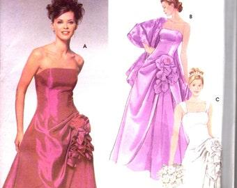 Jessica McClintock Wedding Dress Prom Dress Evening Gown Pattern / Simplicity 5671 / Size 4 6 8 10 / UNCUT