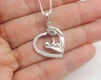 Mother and Child Necklace, New Mom Necklace, Gift for Mom, Gift for New Mothers, New Mom Necklace, Heart Necklace, Gift for Wife