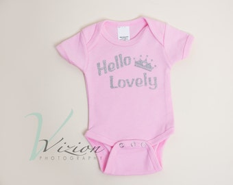 hello lovely baby Romper, creeper, glitter, baby sayings, newborn outfits, newborn clothing,  pink,  baby creeper pink,  newborn creeper