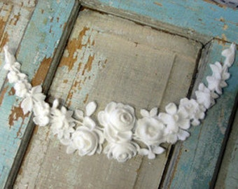 Shabby Chic Furniture Appliques / Large French Rose Swag / Flexible / paintable / Stainable !