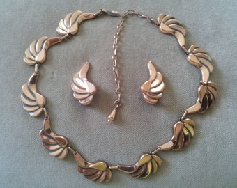 Vintage Renoir Copper Necklace and Matching Earrings, Vintage Deco Renoir Copper