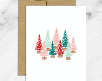Bottlebrush Trees, Christmas Card, Holiday Card, Christmas Trees, Happy Holidays, Merry Christmas, Seasonal