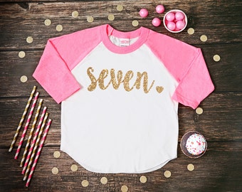 Seven Year Old Birthday Shirt | Seventh Birthday Girl Shirt | 7 Year Birthday Shirt | 7th Birthday Shirt | Birthday Girl Outfit | Raglan