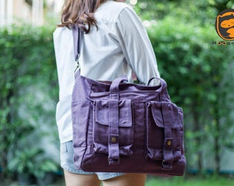 Sale - Plum Canvas Bag - diaper bag, tote, purse, cross body bag, stylish - Saturn