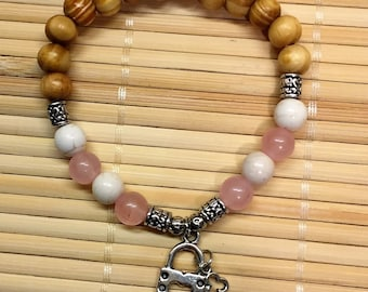 Key to My Heart Wrist Mala Beaded Bracelet Howlite and Rose Quartz Gemstone Healing Jewelry