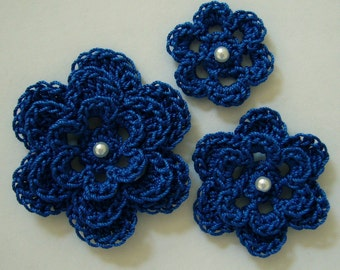 Crocheted Flowers - Royal Blue with a Pearl - Cotton Flowers - Crocheted Flower Appliques - Crocheted Flower Embellishments