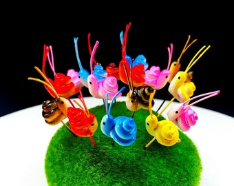 Set 10 pcs. Terrarium Mini Mixed Color Snail Stake Miniature Dollhouse Fairy Garden