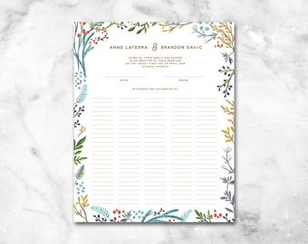 Modern Marriage Certificate Wedding Certificate - Custom Quaker Wedding Guest Print - Guest Book Alternative