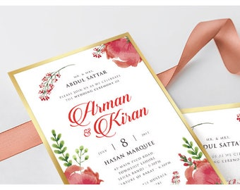 SCD004P Floral Wedding Invitation with Lace and Name Ribbon