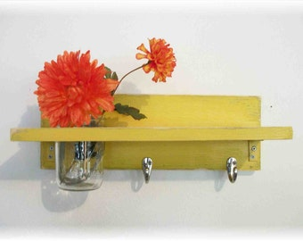 Wood  Shelf  Hooks Sunshine Funky  Retro Yellow Color Bathroom Kitchen