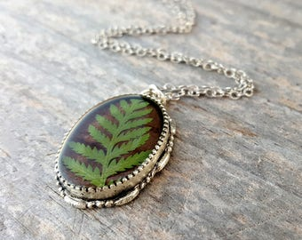 Real Fern Necklace - Green Fern Frond  on Brown Birch Necklace - Rustic Birch Bark with Pressed Leaf - Nature Jewelry