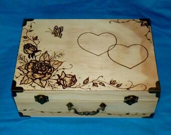 Rustic Wedding Card Box Wood Card Box Roses Wedding Keepsake Box Personalized Wood Burned Suitcase Box Couples Gift Wood Gift Ready To Ship