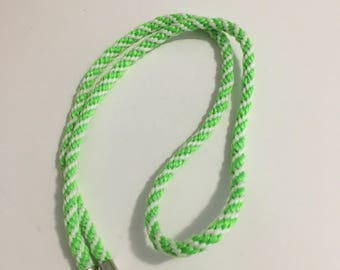 Lanyard / Necklace - Glow in the dark green and white