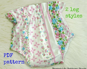 Diaper cover pattern, Nappy cover pattern, Bloomer sewing pattern, Baby bloomers, Baby pattern pdf (S126) - 4 Sizes 0-3/3-6/6-12/12-24mth