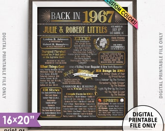 """51st Anniversary Gift, Married in 1967 Anniversary Poster, Flashback to 1967 51 Years Ago Chalkboard Style PRINTABLE 8x10/16x20"""" 1967 Poster"""