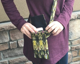 Cell phone purse that secures your cell phone, a cross body purse in designer fabric, cell phone wallet that's a tiny purse, cell phone bag
