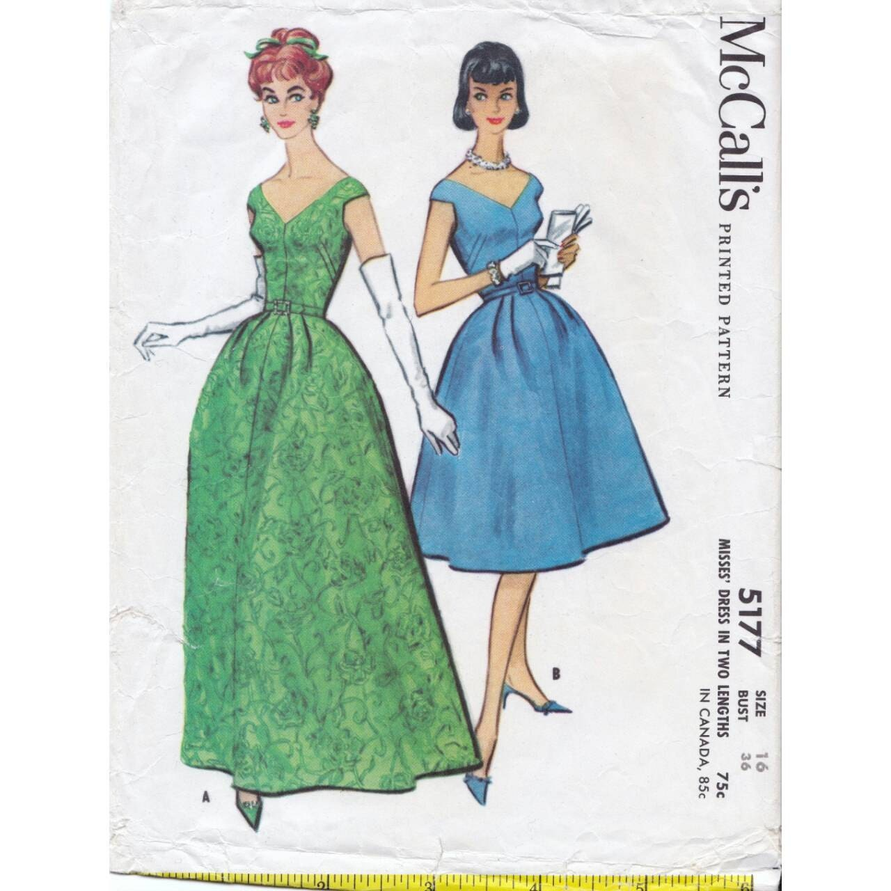50s McCall\'s dress sewing pattern 5177, Bust 36 inches, pattern to ...