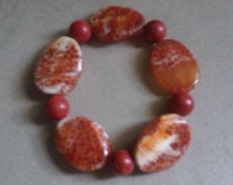 New item!  Free shipping in US. Lovely bracelet w/red jasper beads