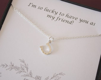 Tiny Horseshow Necklace, Tiny Silver Charm, Sterling Silver Horseshoe, Lucky Charm, Best Friend Gift, BFF, Friend Card