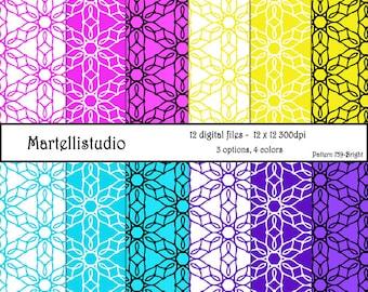 Digital paper flower pattern