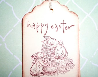 Easter Bunny Gift Tags - Happy Easter -  Set of Six - Easter Tags