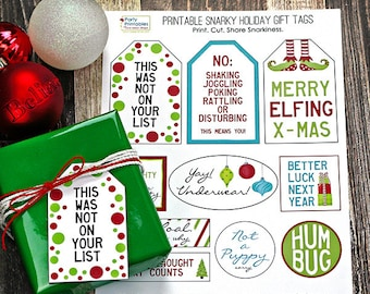 Snarky Christmas Gift Tags, Funny Holiday Gift Tags, Printable Gift Tags, Christmas Printable Tags, Gift Wrap Under 5