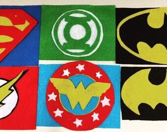 Felt Justice League DC comics logos for costumes.