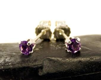 Аmethyst earring, round earrings purple amethyst, sterling silver stud earrings 3 mm