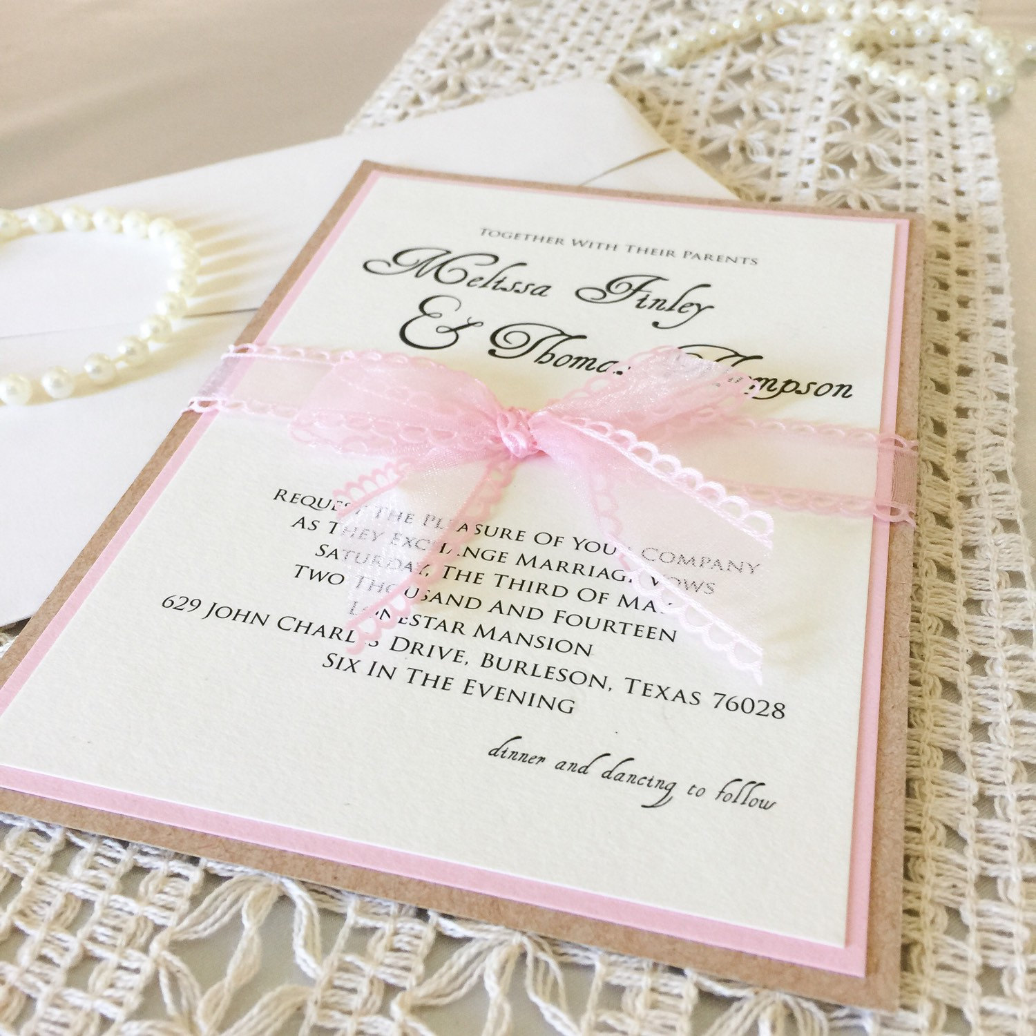 5x7 Craft/Cork Paper and Pink Layered Wedding Invitation ...