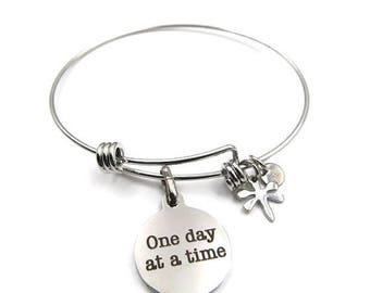 NEW One Day At A Time Charm - Adjustable Stainless Steel Bangle Bracelet (SSBR180)