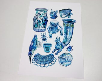 Blue Museum Print