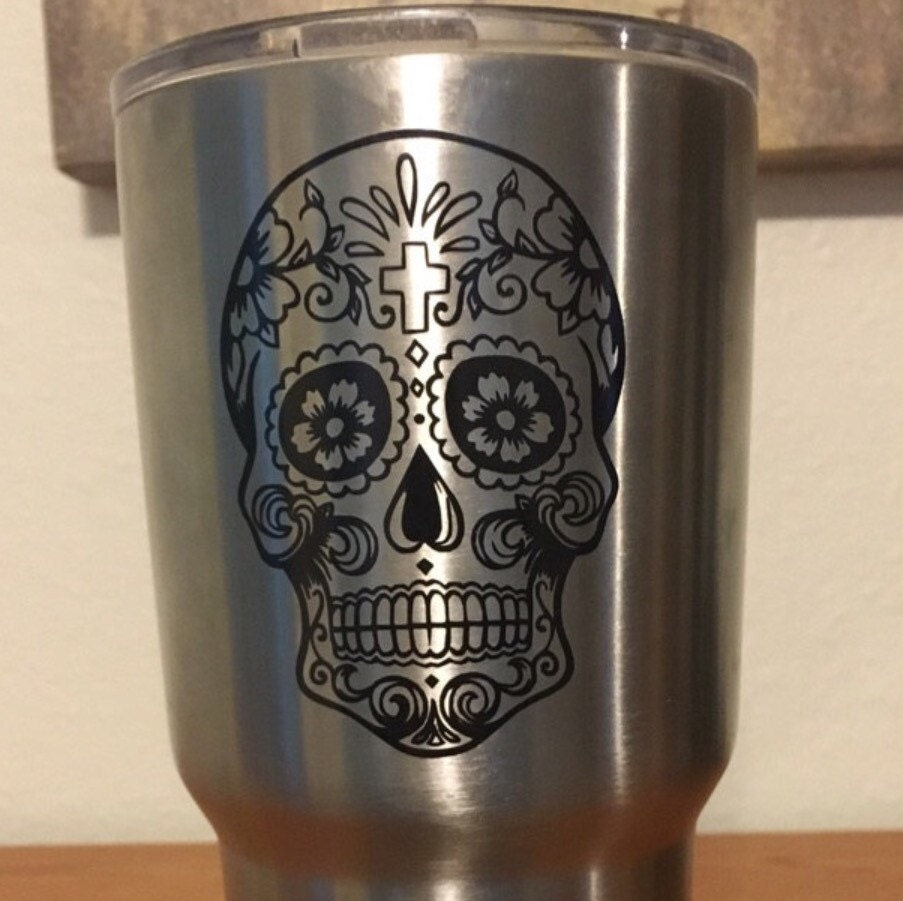 Sugar Skull Decal Sugar Skull Yeti Decal Cup Decal - Vinyl stickers for cups