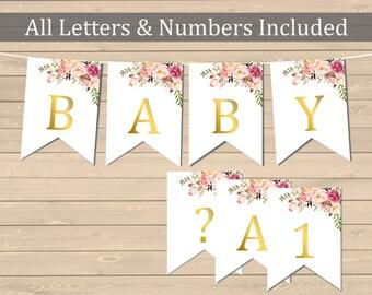 Gold Boho Floral Printable Bunting, Floral DIY Banner, Boho Custom Banner, Boho Banner, Bunting, Garland, Download, 025-G 110-G 024-G 109-G