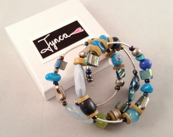 Blues, Greens and Silver Bracelet B3