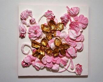 """Bas relief 3d wall sculpture """"FLOWERS"""", pink, gold, 23,5 x 23,5 In, handmade, """"SavvaStudio"""""""