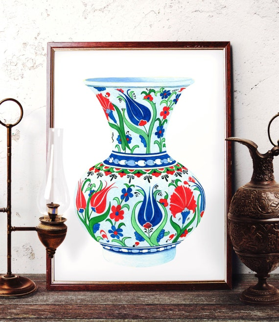 Traditional Ottoman Tulip Watercolor Wall Art Turkish Floral: Traditional Iznik Vase Pottery Painting Ottoman Blue Tulip