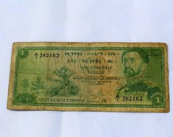 Ethiopia 1961 H.I.M. Haile Selassie Lion of Judah 1 Dollar Birr Banknote. Ethiopian Birr, Ethiopian Coin, Ethiopian Dollar